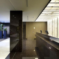 Alabaster panels in the reception of a hotel.